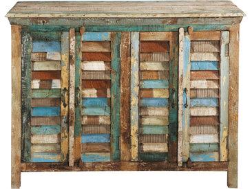 Anrichte aus Recyclingholz, B 120cm, bunt Calanque