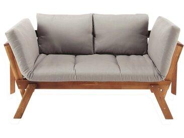 Modulare 3-Sitzer Gartenpolsterbank aus Akazienholz mit taupefarbenem Kissen Relax