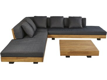 4/6-Sitzer-Gartenmöbel aus massivem Akazienholz und anthrazitgrauem Segeltuch Porto Rico
