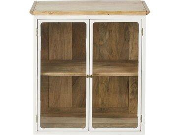 Küchenoberschrank aus massivem Mangoholz, weiß mit 2 Glastüren B60 Cezanne