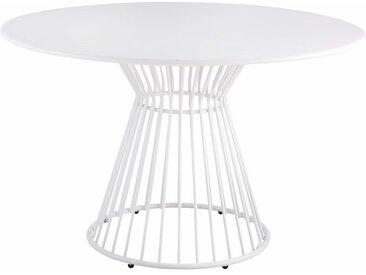 Runder Gartentisch aus mattweißem Metall für 4 Personen D120 Meknes