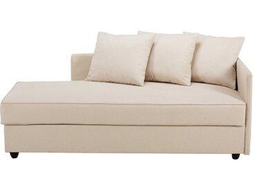 Chaiselongue mit Bettkasten und beigem Stoffbezug Cléa