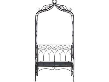 Rosenbogen mit Sitzbank aus Eisen, dunkelbraun, gealtert St Germain