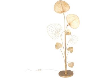 Stehlampe Gingko aus goldenem Metall und Bambus H145