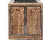 Küchenunterschrank mit Spülbecken und 2 Türen aus massivem Mangoholz