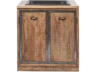 Küchenunterschrank mit Spülbecken und 2 Türen aus massivem Mangoholz Melchior