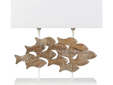 Lampe Fische mit geschnitztem Mangoholzfuß und weißem Lampenschirm