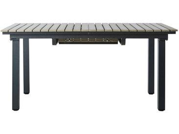 Gartentisch aus Plastik in Holzoptik und Aluminium, B 213cm, grau Escale
