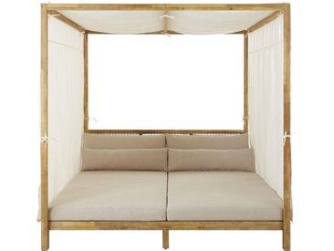 Himmelbett für den Außenbereich aus geflochtenem Kunstharz und hellem Segeltuch in Taupe Maupiti