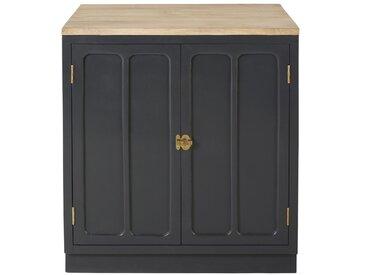 Küchenunterschrank mit 2 Türen aus massivem Mangoholz, schiefergrau Cezanne