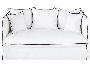 Leinen-Crinkle-Bezug für 2-Sitzer-Sofa, weiß mit Volants Louvre