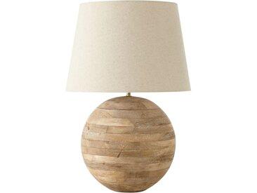 Kugellampe mit Mangoholzgestell und flachsfarbenem Lampenschirm
