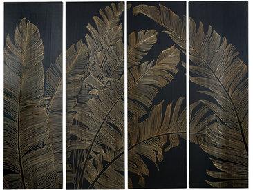 4-teilige Wanddeko Blattwerk aus schwarzem Paulownienholz, graviert 153x120