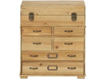 Kleines Aufbewahrungsmöbel Truhe mit 6 Schubladen aus Tannenholz