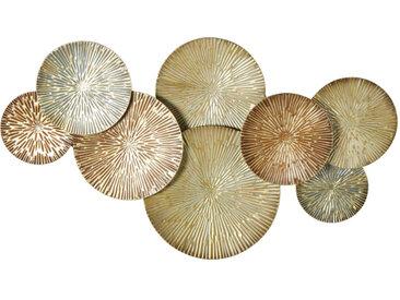 Wanddeko aus Metall, goldfarben und braun 141x82