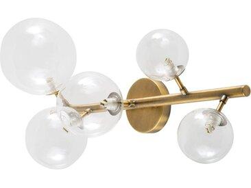 Wandlampe mit Kugelschirm aus Glas und bronzefarbenem Metall