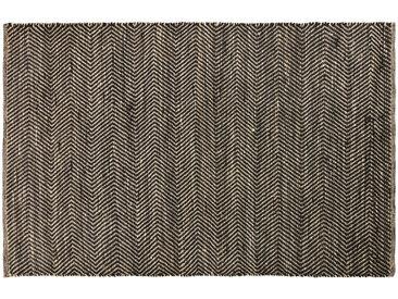 Teppich aus Baumwolle und Jute in Schwarz und Kastanienbraun mit Fischgrätmuster 160x230