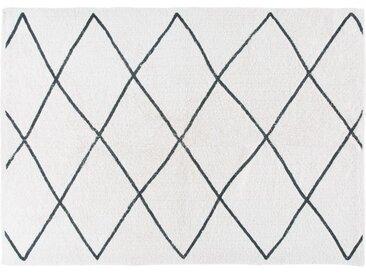 Berber-Baumwollteppich, ecrufarben und schwarz, 160x230