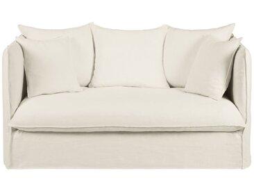 Leinen-Crinkle-Bezug für ausziehbares 2-Sitzer-Sofa, weiß Louvre