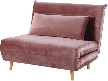 Ausklappbare 1-Sitzer-Bettbank, aus Samt, altrosa Nio