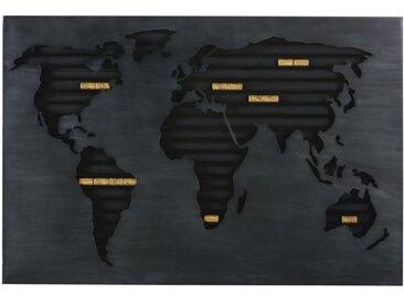 Wanddeko Weltkarte als Halterung für Korken aus Metall, schwarz