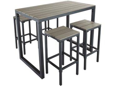 Hoher Gartentisch mit 4 Hockern aus Aluminium, L128 Escale