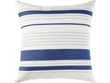 Outdoor-Kissen aus Baumwolle, ecrufarben mit blauem Streifenmuster 45x45