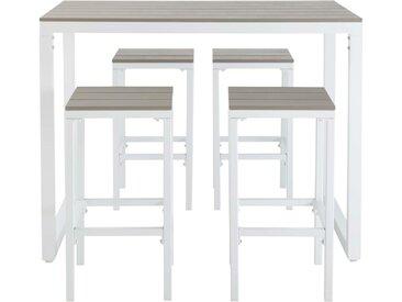 Hoher Gartentisch mit 4 Hockern aus Aluminium L128 Escale