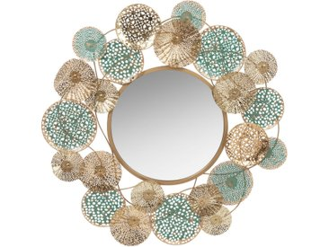 Spiegel mit Metallrahmen, türkis und goldfarben D.83