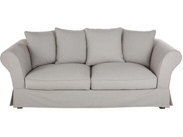 Baumwoll-Bezug für ausziehbares 3/4-Sitzer-Sofa (12 cm), hellgrau Roma