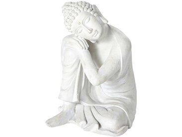 Buddha-Statue, ecrufarben und in gealterter Optik H60