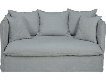 Leinen-Crinkle-Bezug für ausziehbares 2-Sitzer-Sofa, hellgrau Louvre