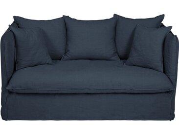 Leinen-Crinkle-Bezug für ausziehbares 2-Sitzer-Sofa, nachtblau Louvre