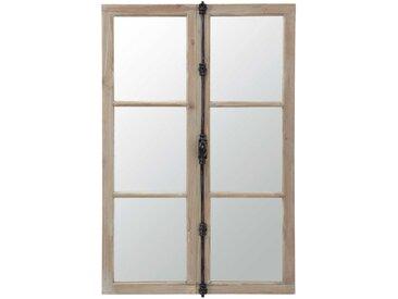 Spiegel in Fensteroptik aus Tanne und schwarzem Metall 80x120