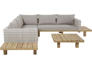 4/6-Sitzer-Gartenmöbel aus massivem Akazienholz und grauem Segeltuch Tillandsia
