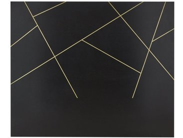 Bettkopfteil 160 aus massivem schwarzem Mangoholz mit geometrischem goldfarbenem Druckmuster Jagger