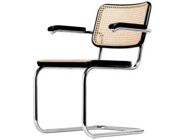 Thonet Freischwinger-Stuhl S64 schwarz, Designer Marcel Breuer, 83x58x61 cm