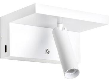 LED-Wandstrahler mit Ablage Hilton weiß, 8.5x18x12.7 cm