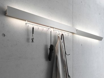 Garderobenleuchte GL 8 Wand-Leuchte Gera-Leuchten silber, Designer Thomas Ritt, 9.4x60x7.65 cm