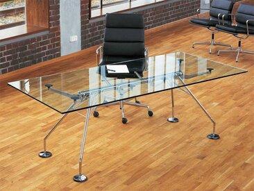 Tisch Nomos Tecno silber, Designer Sir Norman Foster, 72x220x100 cm