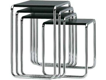 Thonet Beistelltisch B9 schwarz, Designer Marcel Breuer, 60x45-66x39 cm