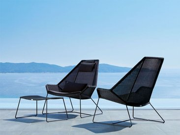 Highback Sessel Breeze Cane-line schwarz, Designer Christina Strand, Niels Hvass, 98x98x101 cm