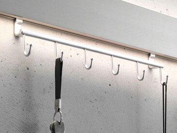 Haken-Leiste für Garderobenleuchte GL 8 Gera-Leuchten silber, 9x38x5 cm