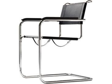 Freischwinger-Stuhl mit Armlehnen S34 schwarz, Designer Mart Stam, 84x56x64 cm