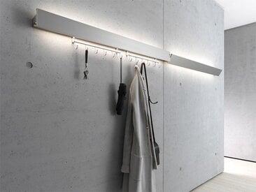 Garderobenleuchte GL 8 Wandleuchte Gera-Leuchten silber, Designer Thomas Ritt, 9.4x60x7.65 cm