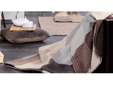 Wolldecke aus Bio-Baumwolle in Braun 140x200 cm - Chalet - Kuscheldecken gemustert
