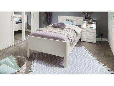 Weißes Bettgestell mit Rahmen in Komforthöhe 120x200 cm - Cavallino - Seniorenbett