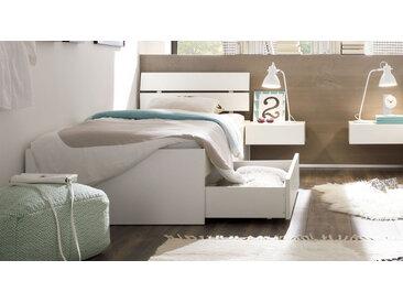 Hochwertiges Einzelbett mit Schubladen Buche weiß 90x200 cm - Mocuba - Stauraum-Bett
