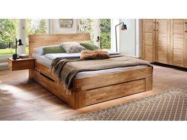 Schubkasten-Bett 140x200 cm aus geöltem Wildeichenholz - Pasja - Stauraum-Bett
