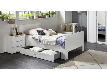 Preiswertes weißes Schubkasten-Einzelbett in 100x200 cm - Aradeo - Designerbett